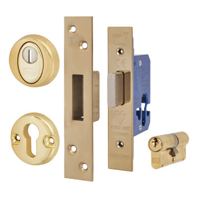 BS3621 Euro Deadlock & Double Cylinder - Case 65mm - Backset 44mm - PVD Brass - Square Forend