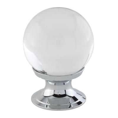Aglio Ball Glass Cabinet Knob - 30mm - Polished Chrome)