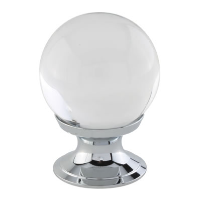 Aglio Ball Glass Cabinet Knob - 30mm - Polished Chrome