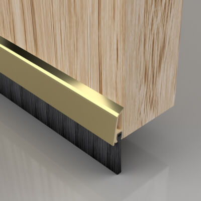 Stormguard Concealed Fixed Bottom Door Brush - 838mm - Gold)