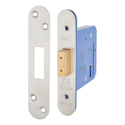 A-Spec Architectural 3 Lever Deadlock - 78mm Case - 57mm Backset - Radius - Satin Stainless)