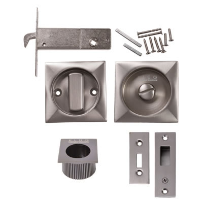 KLÜG Square Flush Privacy Set with Bolt - Satin Nickel)