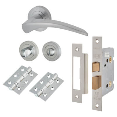 Touchpoint Aston Lever Door Handle - Bathroom Lock Kit - Satin Chrome
