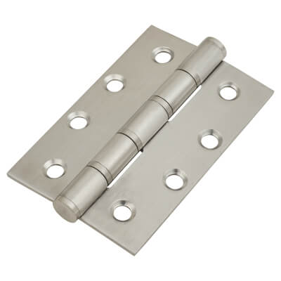 Stainless Steel Washered Hinge - 100 x 66 x 2.5mm - Satin Stainless - Pair)
