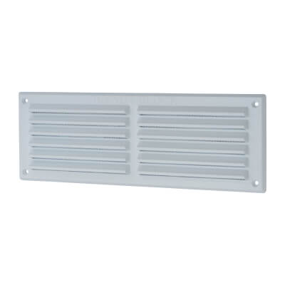 Louvre Vent with Flyscreen - 271 x 95mm - 6600mm2 Free Air Flow - White Plastic