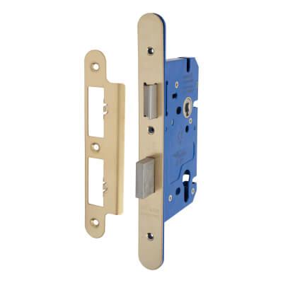A-Spec Architectural DIN Euro Sashlock - 85mm Case - 60mm Backset - Radius - PVD Brass)