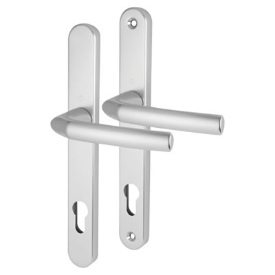 Hoppe Birmingham - uPVC/Timber - Multipoint Long Plate Handle - 92mm centres - 44mm door thickness - Silver