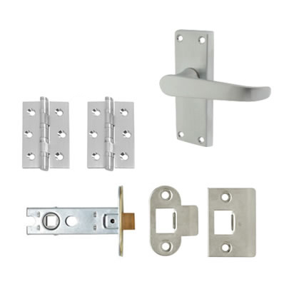 Aglio Victorian Handle Door Kit - Short Latch Set - Satin Chrome)