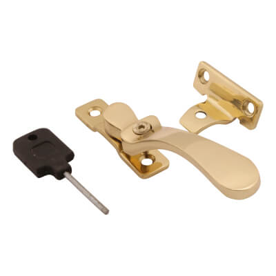 Hampstead Victorian Locking Wedge Window Fastener - Polished Brass)