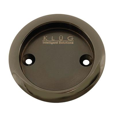 KLÜG Round Screw Fixed Flush Handle - 63mm - Polished Black Nickel