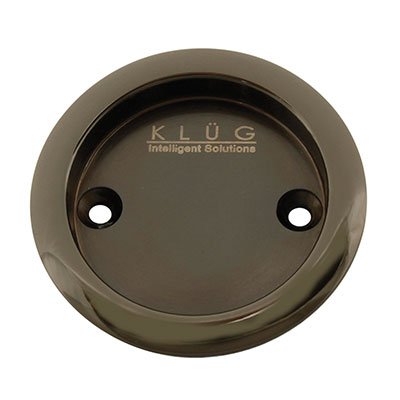 KLÜG Round Screw Fixed Flush Handle - 63mm - Polished Black Nickel