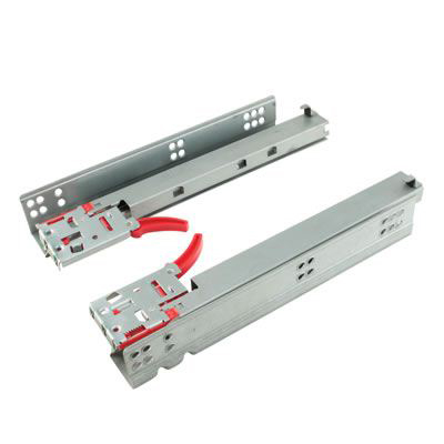 Motion Base Mount Drawer Runner - Soft Close - Double Extension- 550mm - 100 Pairs - Zinc)