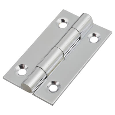Solid Drawn Hinge - 38 x 22 x 1.45mm - Polished Chrome)