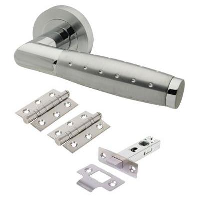 Touchpoint Celeste Door Handle - Door Kit - Polished/Satin Chrome)